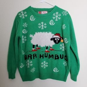 Green Ugly Christmas Sweater with Sheep in Socks